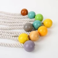 nordic style simple generous cotton thread wooden beads magnetic curtain buckle waist buckle curtain accessories home decoration