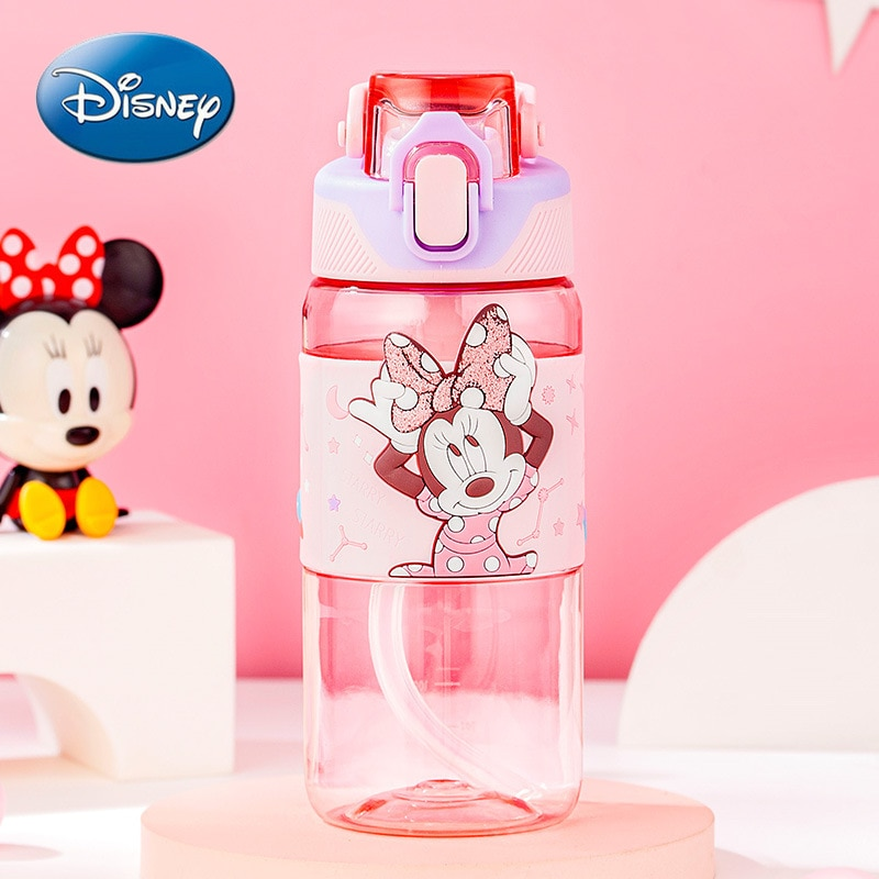 Disney Mickey Mouse Minnie Direct Drinking Sports Water Cup Transparent Material Children's Plastic Straw Cup With Handle