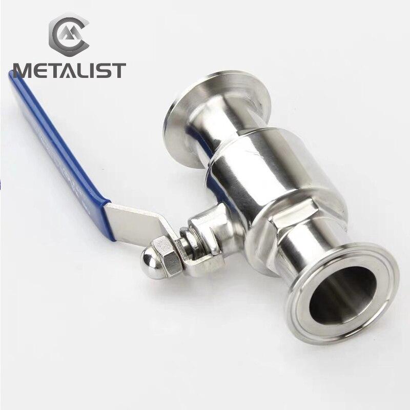 """Metal 3/4 """"OD 19mm SS304 Acero inoxidable puerto completo sanitario válvula de bola de 2 vías ajuste 1,5"""" Tri abrazadera tipo virola de soldadura"""