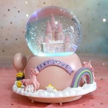 Licorne château boule de cristal externe rotatif boîte à musique boîte à musique flottant neige envoyer petite amie Couple cadeau fille coeur