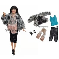 11 5 fashion winter gray fur coat jacket scarf tank trousers shoes 16 bjd clothes for barbie doll outfit dollhouse accessories