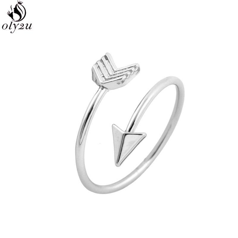 2020 nova moda prata chapeado anéis de seta para as mulheres punk geométrico aberto anel noivado ajustável anillos presente do ano novo