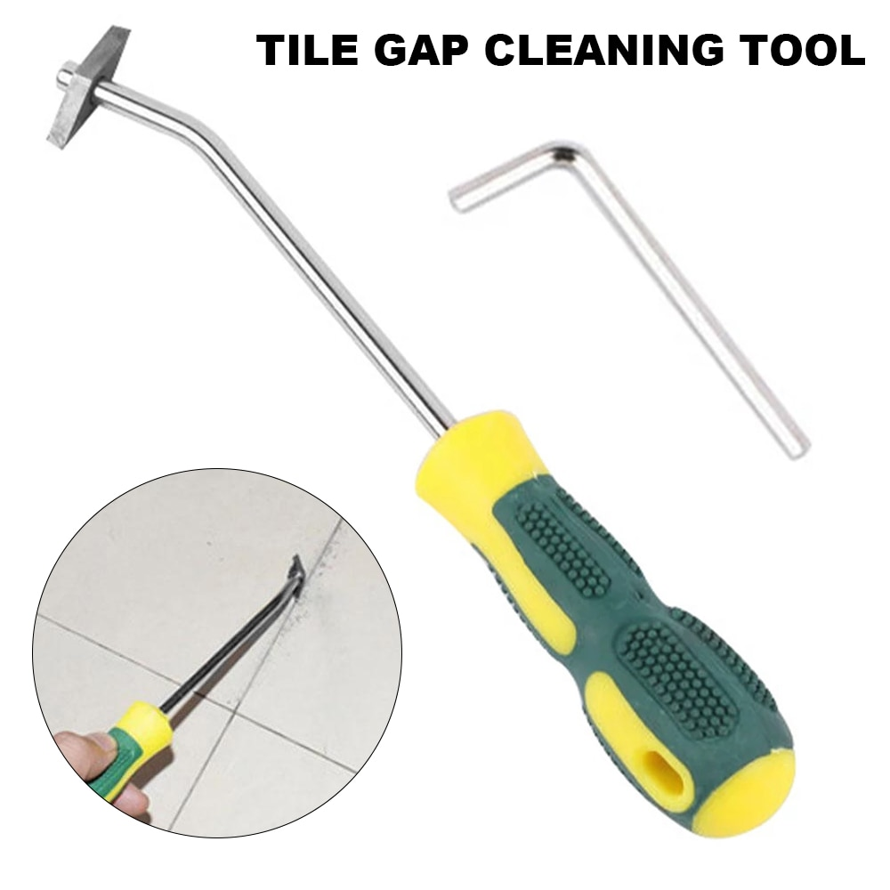 Grout Remover Tool Hand Caulking Steel Head Grout Cleaner Scraper Scrubber Cleaning Brush Tile Joint Gap Cleaner Tools for Floor electric grout remover tile grout saw rake removal scraper floor wall tile remover for bathroom kitchen caulking grouting tool