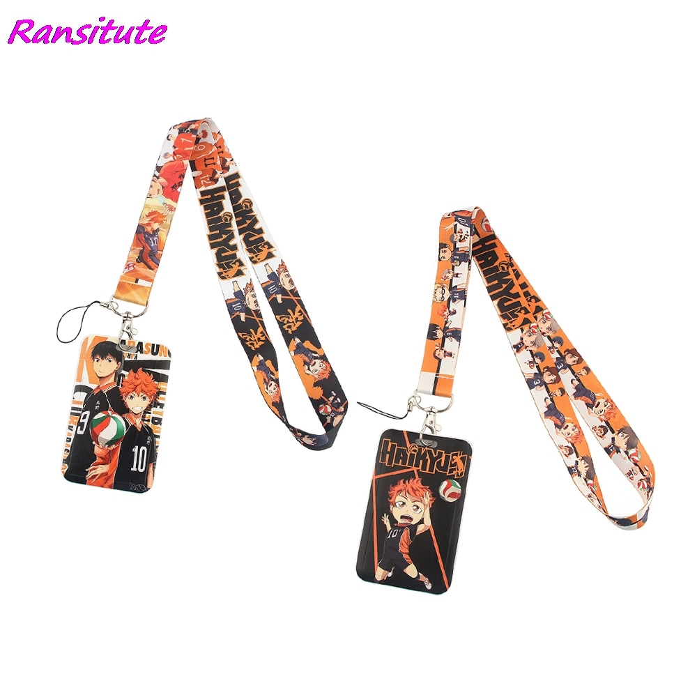 Ransitute R1535 аниме-волейбол мальчиков крутые шнурки держатель для карт для студентов с завязками на шее, телефон на решешке значок метро доступ...