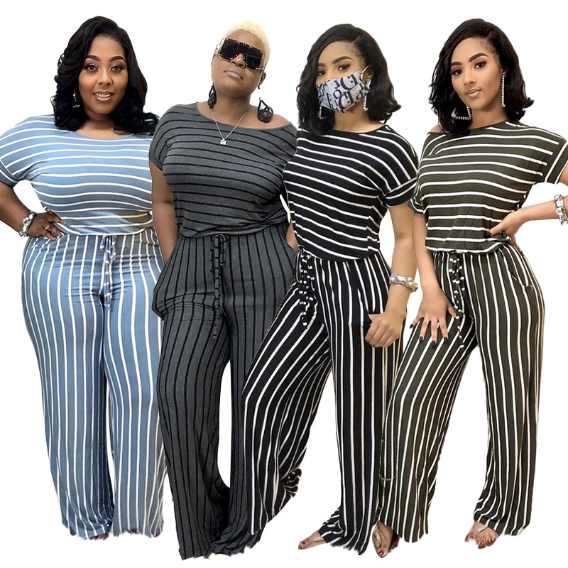 Solid Color Striped Print Drawstring Wide Leg Summer Women Jumpsuit European and American Sexy Style Model Outfits plus button front striped wide leg cami jumpsuit