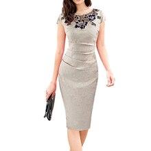 Femmes robe crayon été élégant mode 2020 bureau dame Sexy fleur décoration manches courtes genou longueur grande taille robes