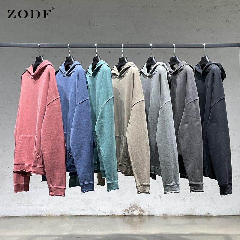 ZODF Chic 2021 خريف شتاء الرجال الأساسية هوديس بلوزات كاني ويست غسلها خمر فضفاض 380gsm كنزة صوفية قطنية/بلوزة قطنية بلايز HY0159