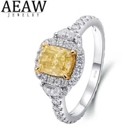 aeaw fancy yellow moissanite cushion cut engagement ring 0 7ct 5x6mm for women real 18k white gold sparking test positive