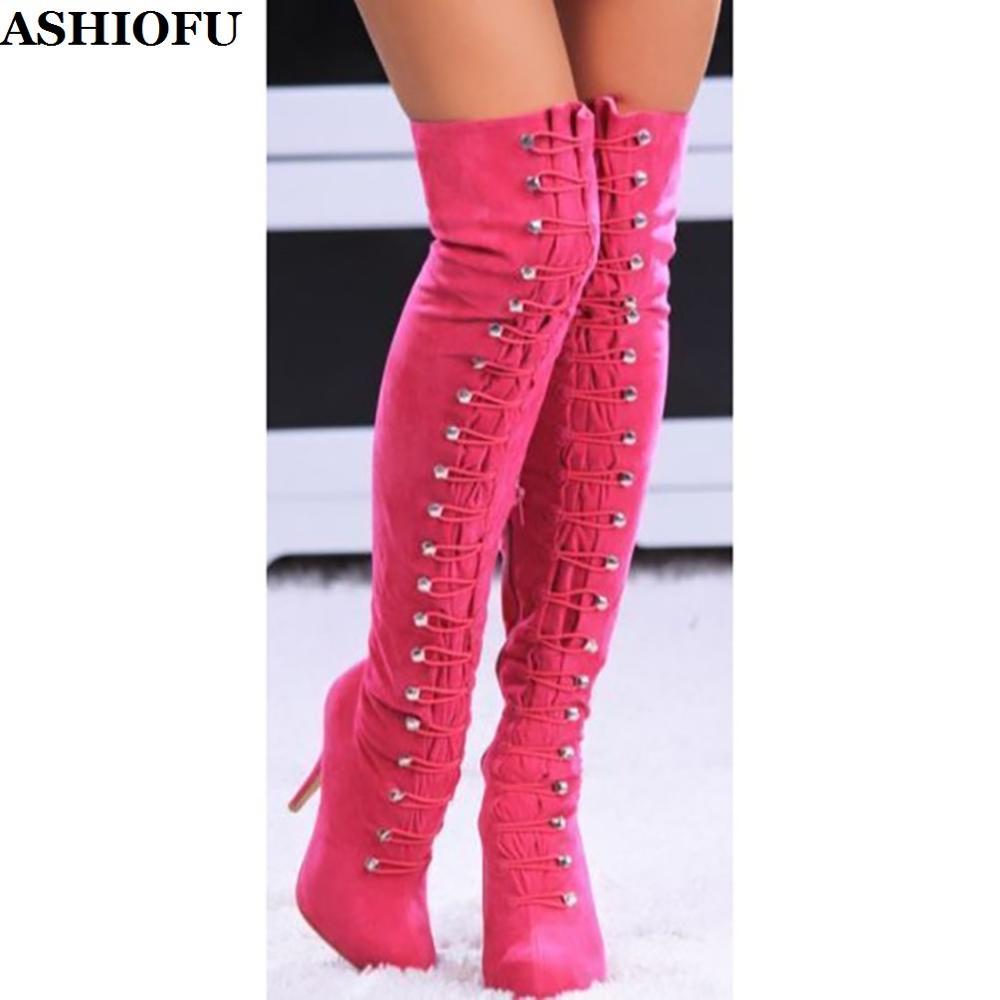 ASHIOFU Handmade Ladies Thigh High Boots Elastic-bands EUROLISH Party Over Knee Boots Evening Club Winter Fashion Boots Shoes