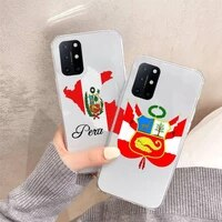 peru flag design pattern phone case transparent for oneplus 7 9 8 t pro luxury design shell cover