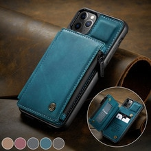 CaseMe Retro Leather Back Case For iPhone 12 11 Pro Max Wallet Card Slot For iPhone SE 12 mini 11 X