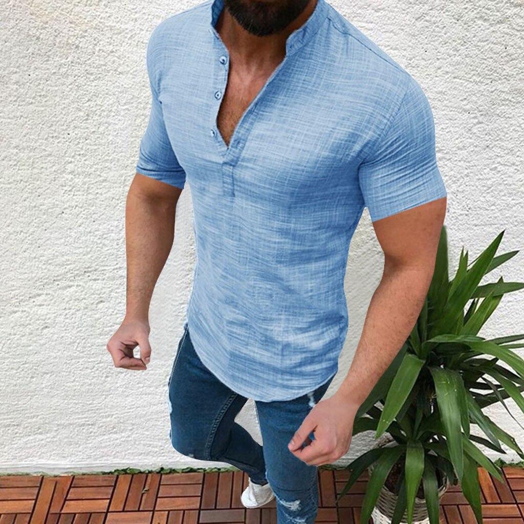 T-shirt Loose Tops Short Sleeve Tee Shirt Newest Summer Casual T Shirt Men's bodybuilding Linen T-Shirt Men футболка 2021