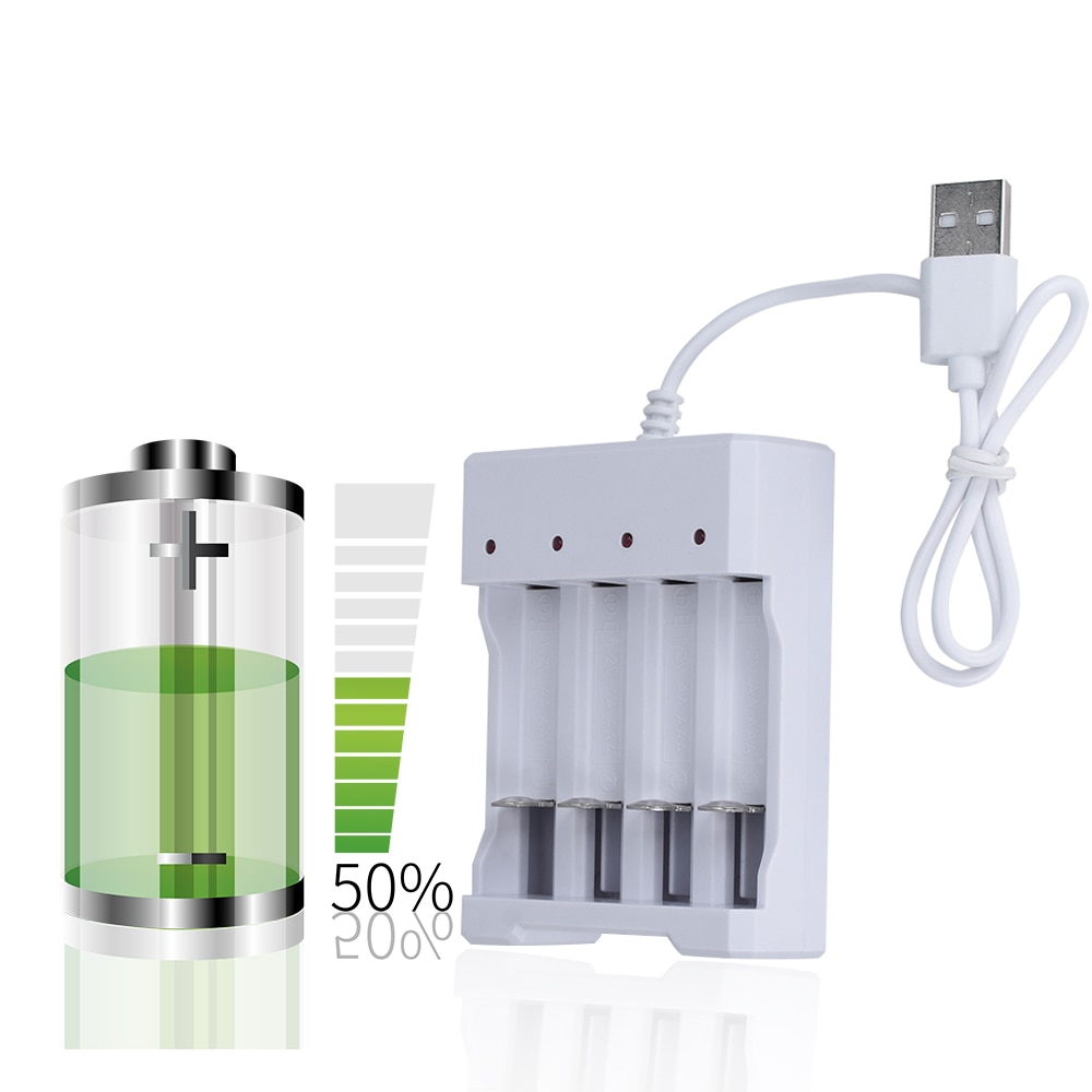 USB 4 Slots Fast Charging Battery Charger Short Circuit Protection AAA and AA Rechargeable Battery S