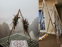 2pcs wedding flowers rattan arches triangle shelf iron stand party event stage backdrop decoration iron craft geometric props