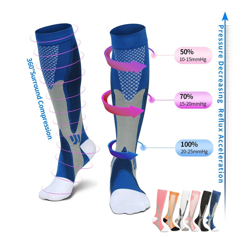 Running Compression Socks Stockings 20-30 mmhg Men Women Sports Socks for Marathon Cycling Football Varicose Veins