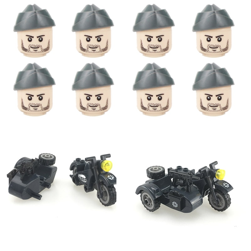 WW2 Military Germany Army Three Wheeled Motorcycle Accessories Building Blocks Soldiers Boat Hat Guns Helmets Parts Bricks Toys