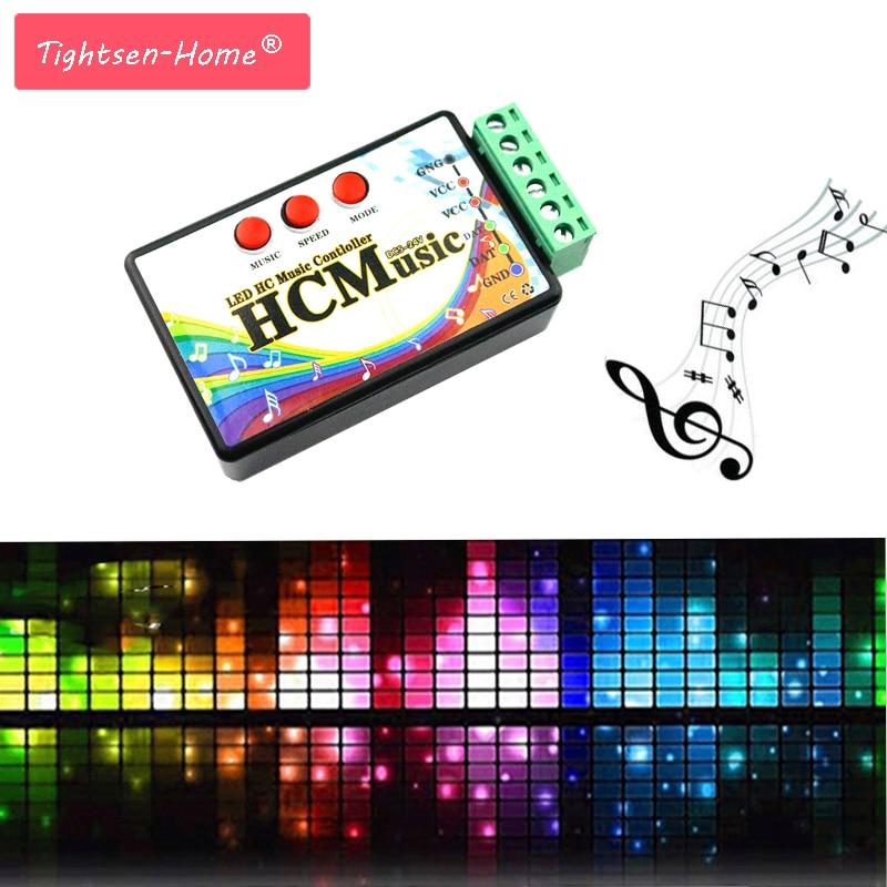 New LED Music Controller DC5V-24V WS2812b WS2811 WS2813 6803 1903 IC Digital Addressable Pixels Strip Voice Sensor HC Controller