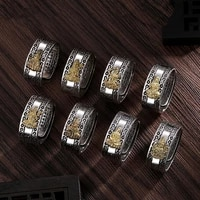 new retro eight buddha auspicious cloud pattern six character sutra ring mens and womens adjustable ring fortune jewelry