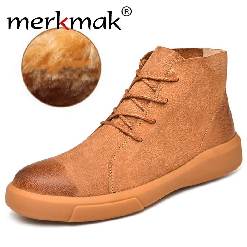 surom brand men s boots big size warm plush male leather shoes work boot warm fur winter casual snow sneakers mens ankle boots Merkmak Brand Winter Men Snow Boots Ankle Boots Man Genuine Leather Plush Warm Men Motorcycle Boot Autumn Outdoor Shoes Big Size