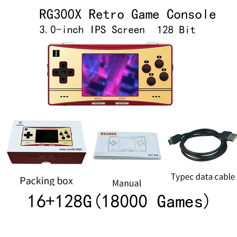 Consola de videojuegos Retro RG300X de 128 bits, consola portátil de bolsillo, Mando de juegos para PS1, CPS1, CPS2, 128GB, 18000 juegos integrados