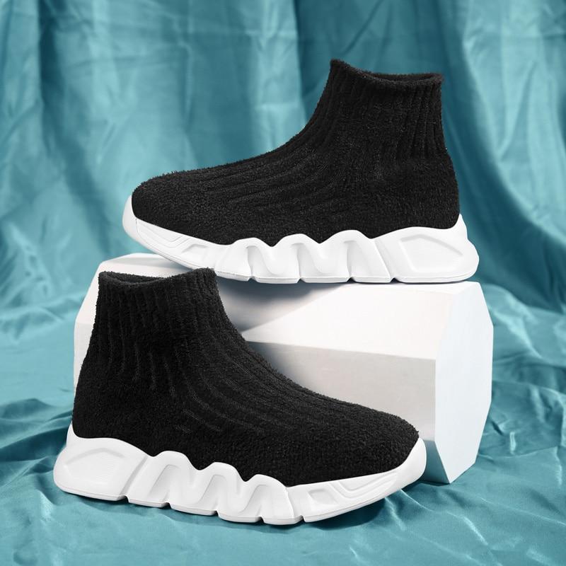 High Top Children Shoes Boys School Shoes Girls Kids Socks Shoes Black Designer Girls Boy Sport Runn