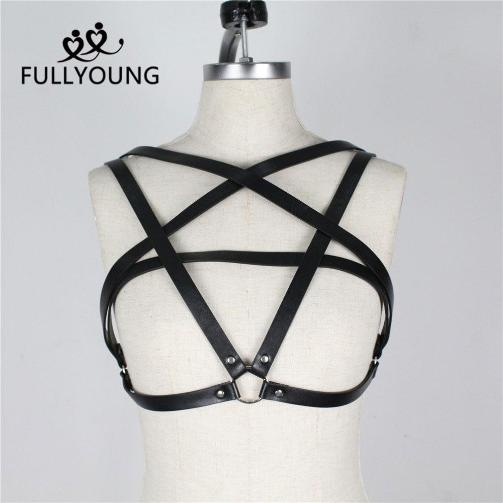 Fullyoung Sexy mujeres negro Bow-knot cinturones de pecho de cuero arnés correas ajustables Bondage de alta cintura Punk Liga gótica Club