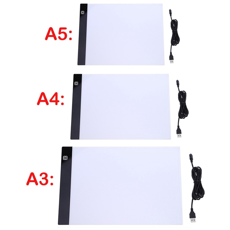 A3 A4/A5 Size Three Level Dimmable Led Light Pad,Tablet Eye Protection Easier for Diamond Painting Embroidery Tools Accessories