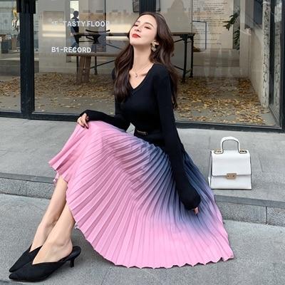 Vestido plissado feminino camisola de malha vestidos das senhoras deusa camisola preta vestido coreano alta qualidade vestidos de fiesta