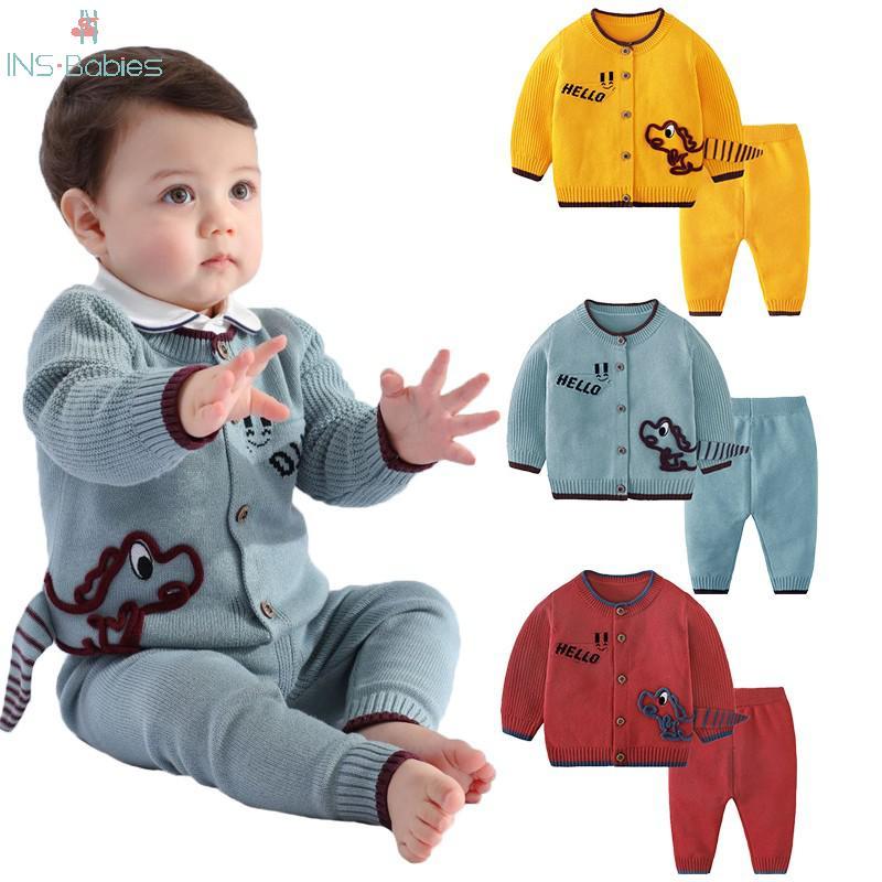 Automne bébé garçon vêtements tricot pull ensemble 12m-3y enfants Cardigan costume à manches longues dinosaure garçons vêtements ensembles infantile 2020