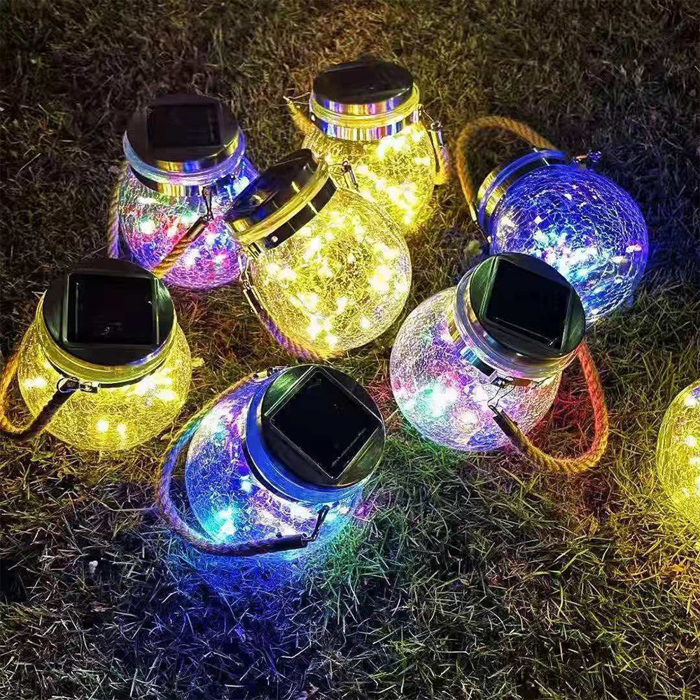 Solar Lantern String Light Outdoor Decoration Light Hanging Lantern With 20 LED Waterproof Solar Glass Tank Lights Garden Lights
