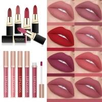 2pcs women sexy lipstick set matte velvet waterproof long lasting easy to wear lip gloss moisturize non stick cup lipstick