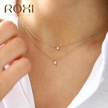ROXI 925 en argent Sterling Simple rond CZ cristal pendentif collier pour les femmes clair Zircon clavicule chaîne collier ras du cou Collares
