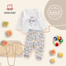 Car children's wear newborn baby clothes boys go out suit T-shirt set pajamas spring