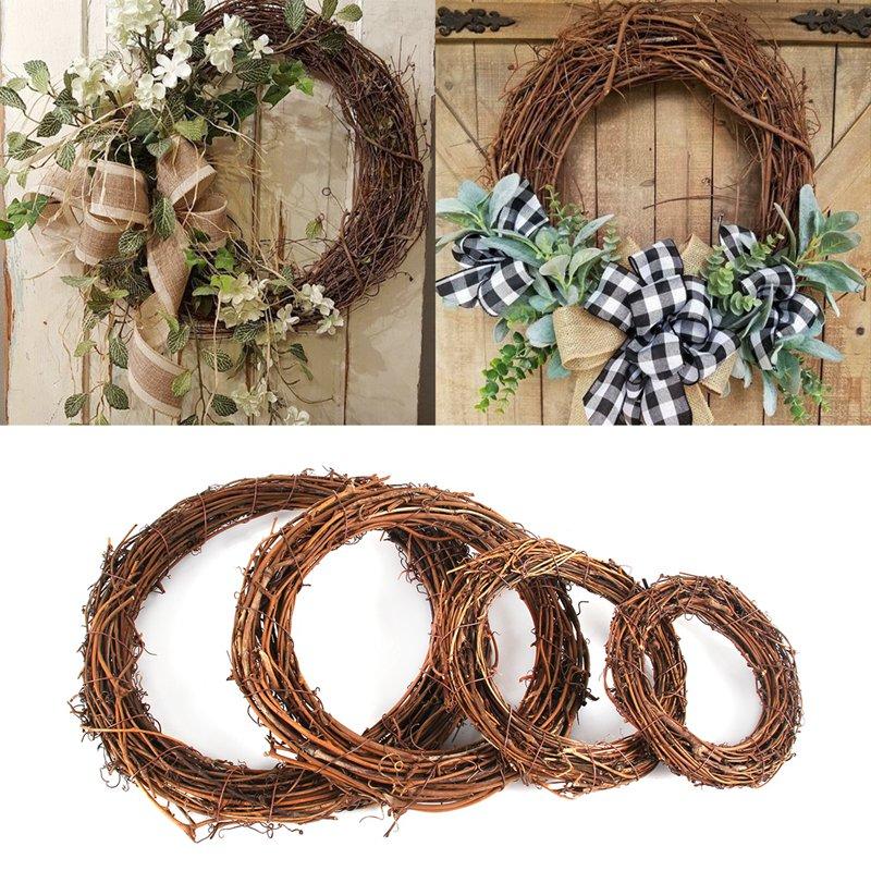 Decoración de boda FENGRISE, corona de mimbre Natural, decoración rústica para bodas y eventos, manualidades DIY, suministros para fiestas
