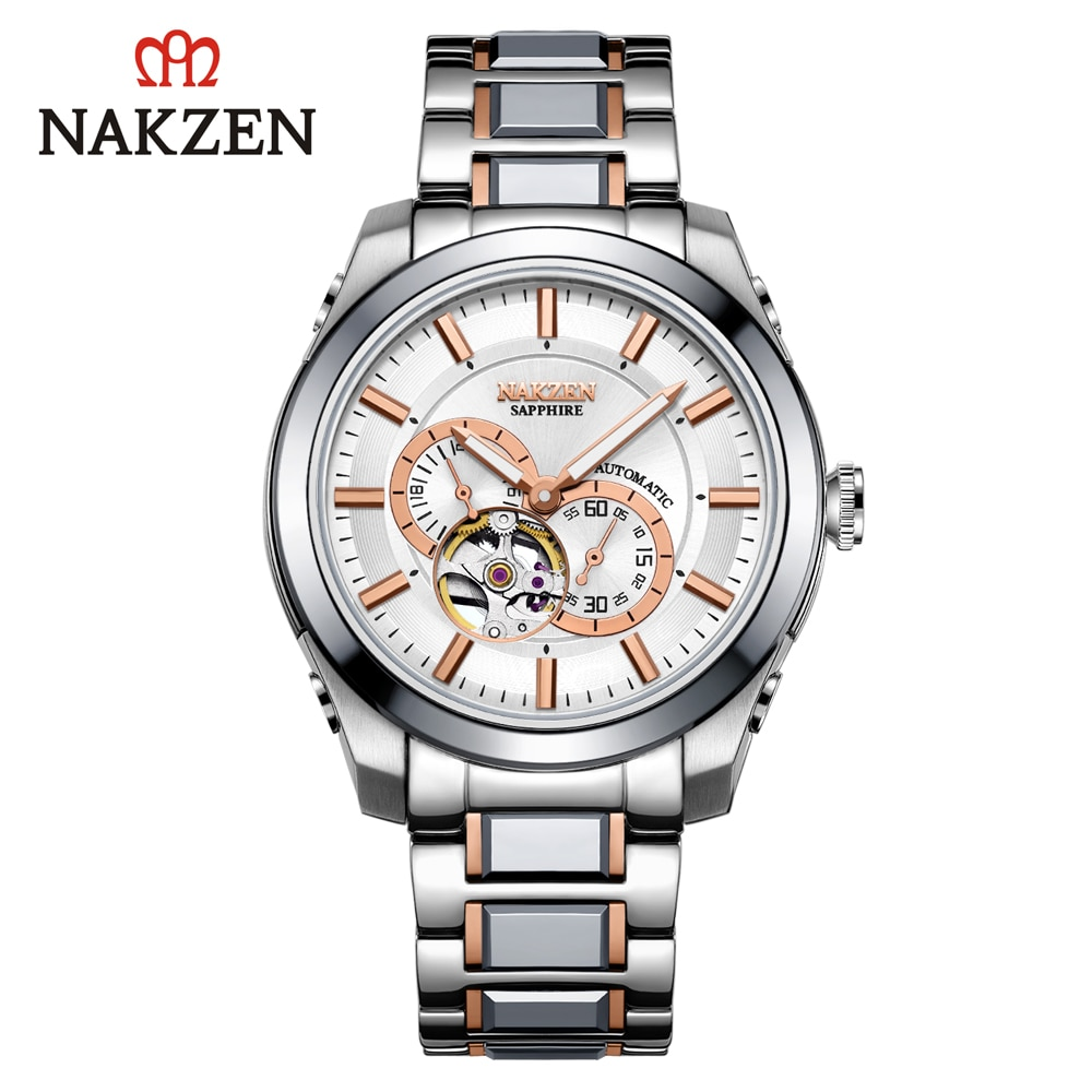 NAKZEN Automatic Mechanical Watch Clock Stainless Steel Sports Watches Waterproof Mens Dress Luxury Watch Men Automatic Winding