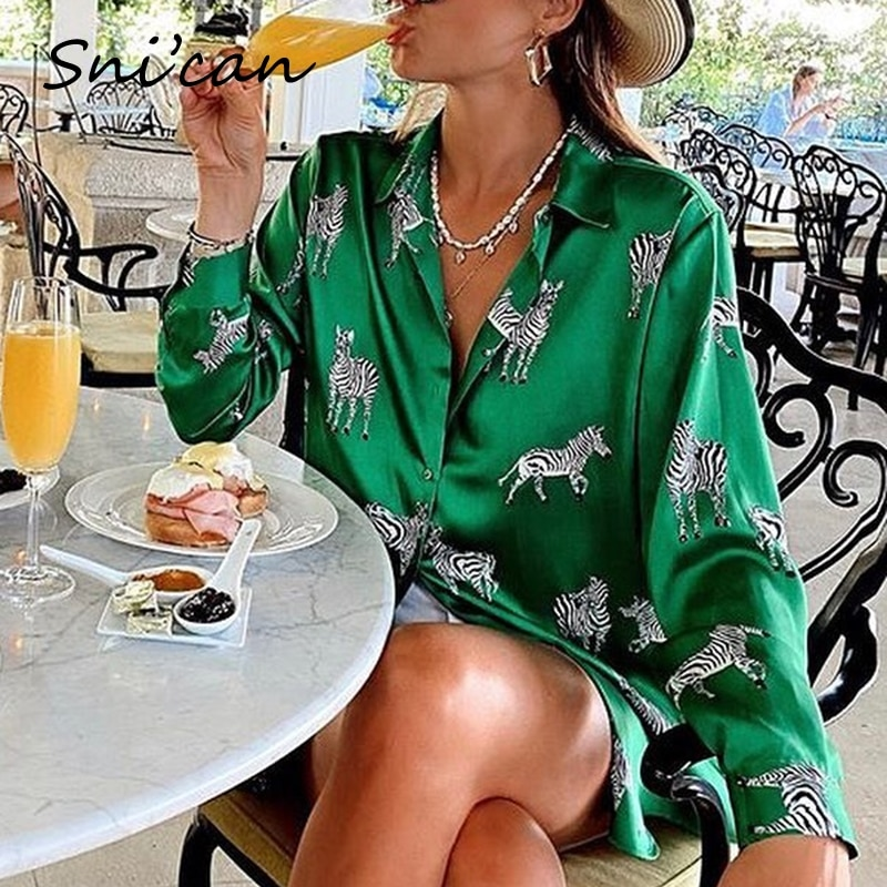 women satin blouse long sleeve zebra print shirts vintage office ladies tops femme chandails za 2020 fashion blusa de mujer ins