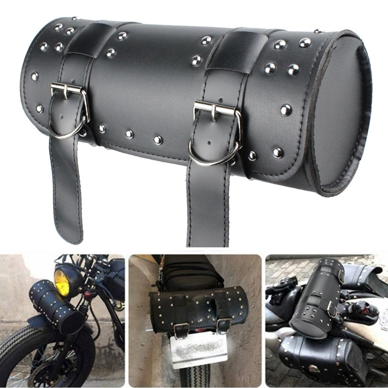Universal Motorcycle Front Fork PU Tool Bag Saddle Bag Storage Pouch Luggage Handlebar Leather Large Capacity universal 1 pairs green motorcycle pvc water proof saddle bag luggage storage outdoor travelling bag large capacity for ducati