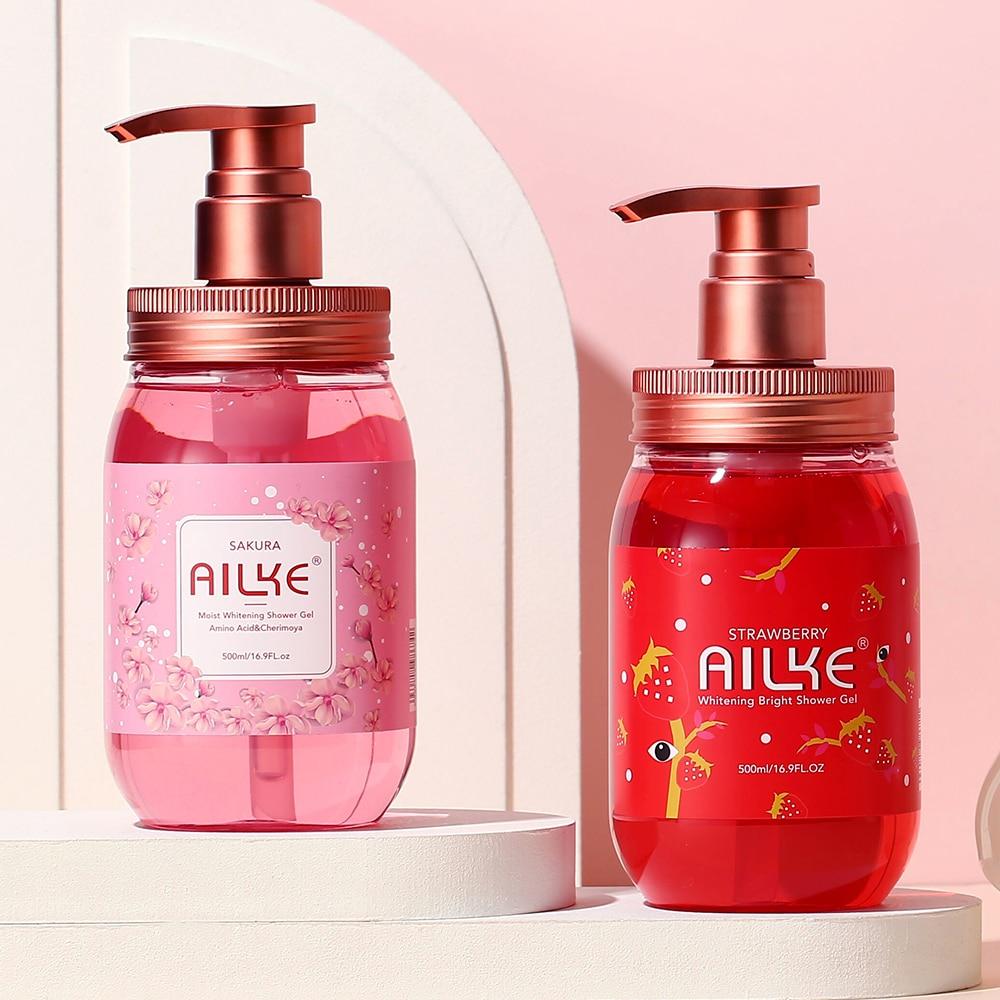 AILKE Shower gel Shampoo women Clean Whitening Scrub flowers Exfoliating Moisturizing smooth gel douche bath foam femal