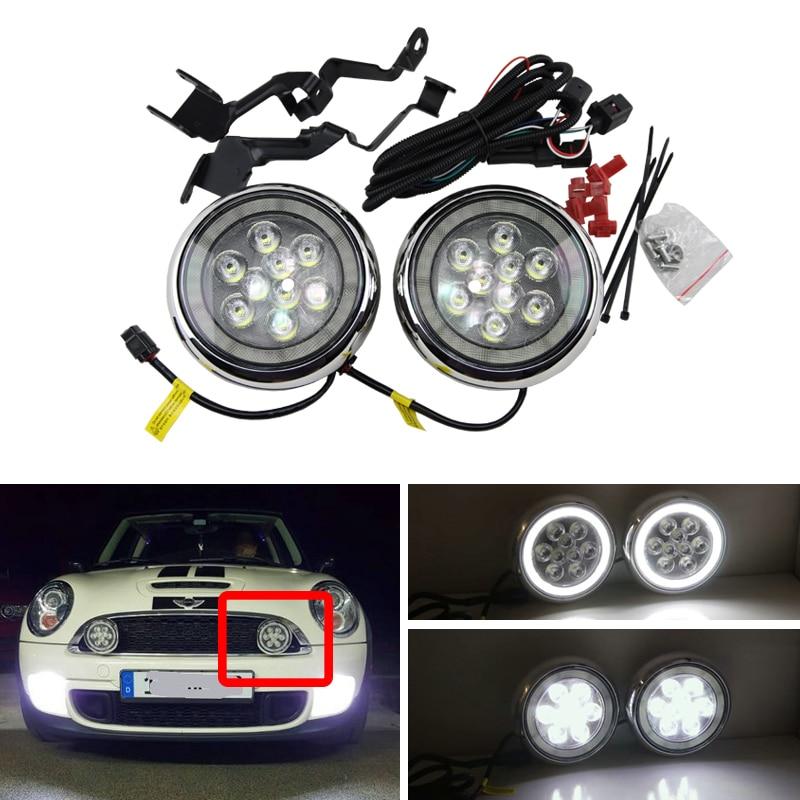 Productos nuevos, Mini Cooper, luz Led de conducción de Rally con anillo lumínico tipo Ojos de Ángel DRL, Kits de luz diurna de carcasa negra cromada para Bmw