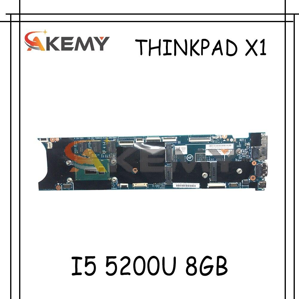 Akemy FRU 00HT342 00HT354 لينوفو ثينك باد X1 كمبيوتر محمول الكربون اللوحة CPU I5 5200U 8GB اختبار العمل 13268-1 448.01430.0011