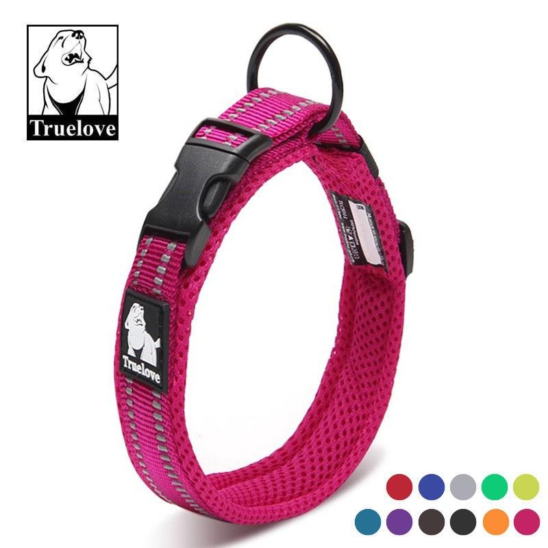 Truelove Soft Padded Mesh Dog Collar 3M Reflective Nylon Walking Training Dog Leads Stock Running Dog Pet Collar 11 Colors