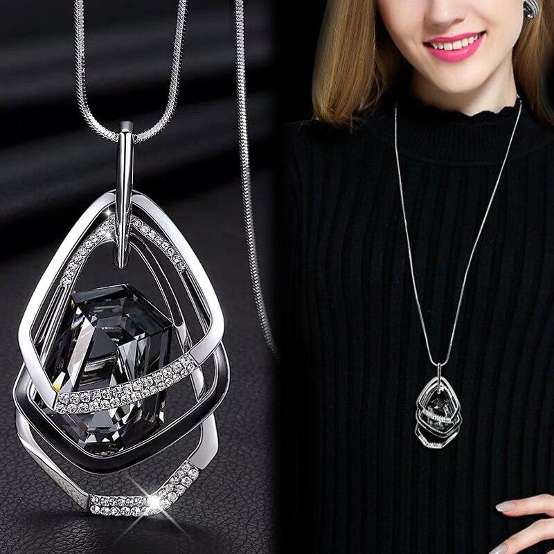 Collares y colgantes largos para mujeres Maxi collar mujer cadena geométrica moda collar declaración collar accesorios joyería 2020