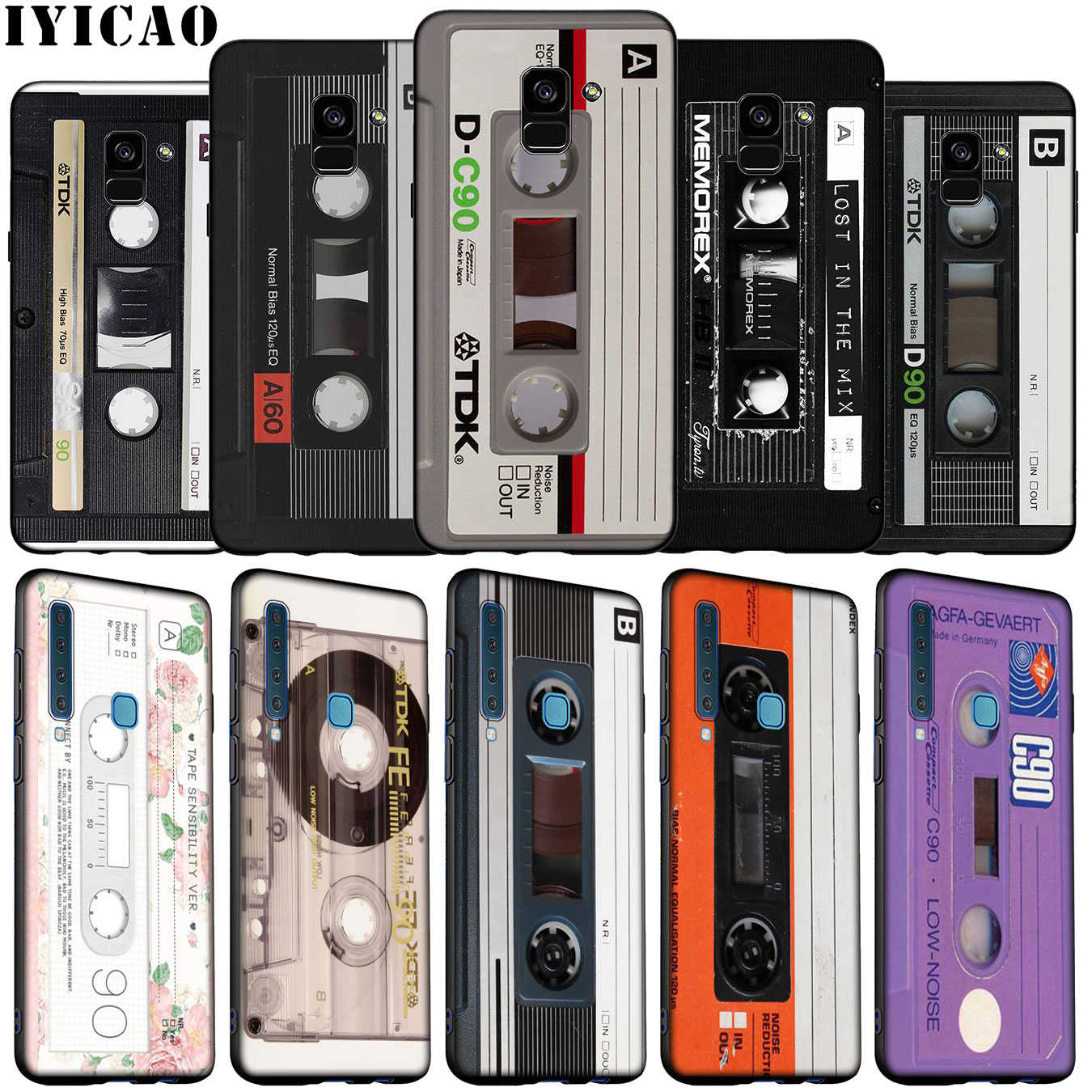 IYICAO cinta magnética Cassette cinta de audio de silicona suave funda para Samsung Galaxy A6 A9 A8 A7 2018 A3 A5 2016 NOTA DE 2017 9 8 10 Plus