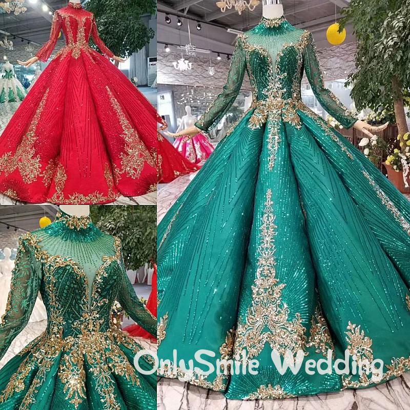 Glitter Dark Green Wedding Dresses Islamic Lace Vintag Elegant Long Sleeves Real Photos Corset Muslim Bride Ball Gowns for Women
