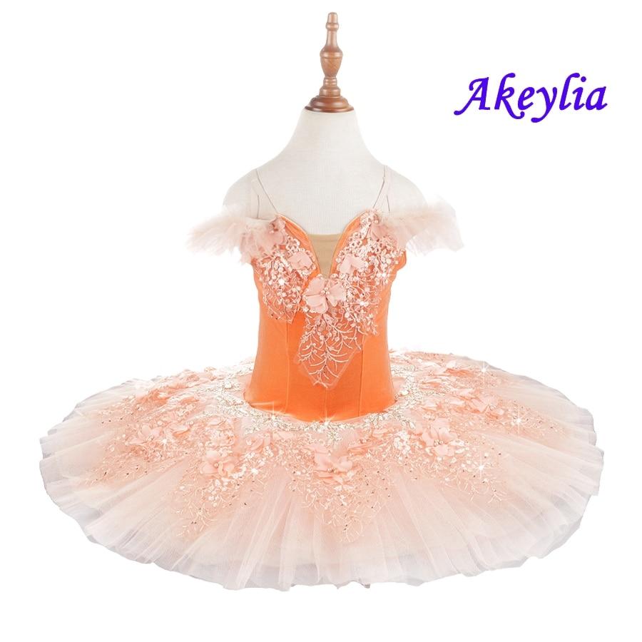 Orange Ballet tutu child nutcracker Pre-Professional ballet tutus for girl Classical ballet tutu pancake Swan lake ballet dress