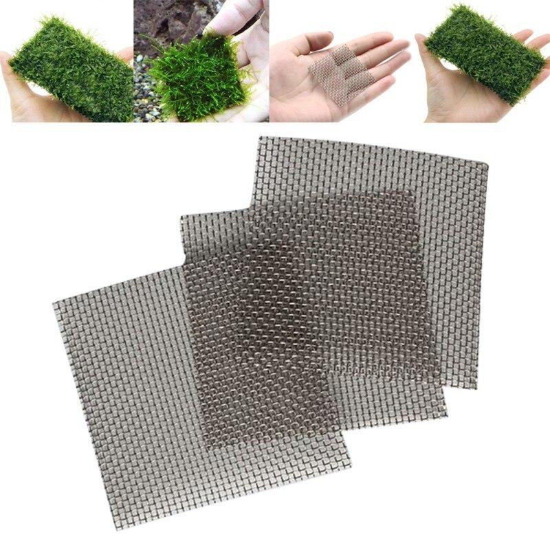 5pc 8x8cm Stainless Steel Square Shape Wire Mesh Pad Aquarium Fish Tank Water Grass Plants Fixed Net Ornaments недорого