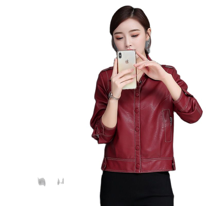 Short leather jacket women Joker coat loose top faux leather jacket women biker jacket women red leather jacket plus size jacket