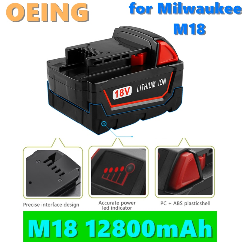 2021NEW 18V 12800mAh ليثيوم أيون أداة البطارية ل ميلووكي M18 48-11-1815 48-11-1850 2646-20 2642-21CT Repalcement M18 البطارية