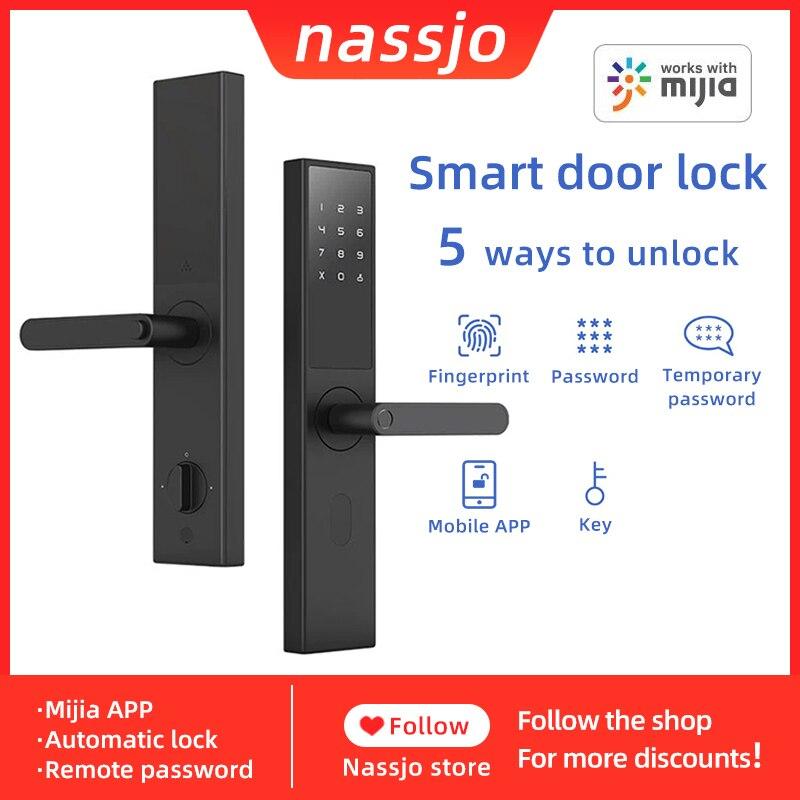 Nassjo Smart Fingerprint Door Lock With Xiaomi Mijia APP Bluetooth Security Intelligent Digital Lock Biometric Electronic Lock