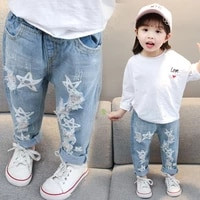baby star print jeans pants girls elastic waist kids jeans with hole autumn novelty clothes for infant girls fashion jeans gj01